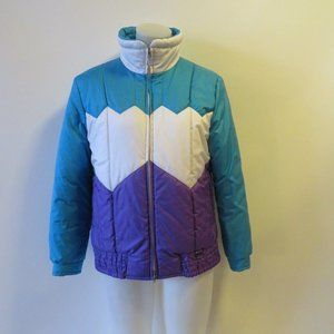 BOGNER WHITE/TURQ/PURPLE SKI PUFFER JACKET SZ 10*